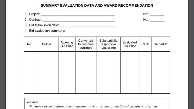 Construction Bid Evaluation Report