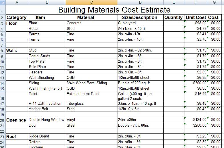 Download Construction Building Materials Cost Estimate Sample