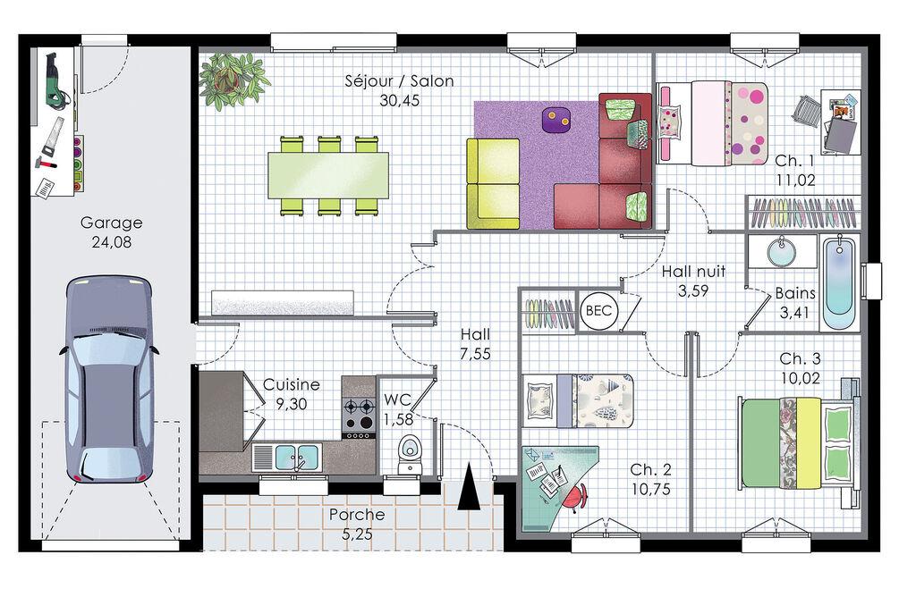Pavillon de plain-pied - Détail du plan de Pavillon de plain-pied - Construire Sa Maison Plan