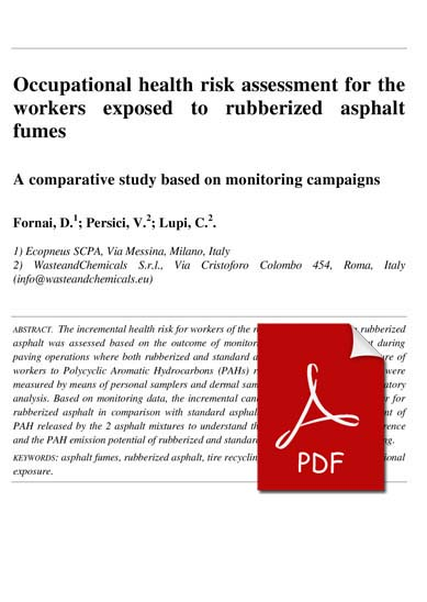 Occupational health risk assessment for the workers exposed to - health risk assessment