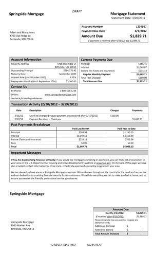 A model form for mortgage statements Consumer Financial Protection