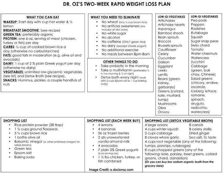 Dr Oz Diet Plan Two-Week Rapid Weight Loss Plan - how to plan weekly meals for two