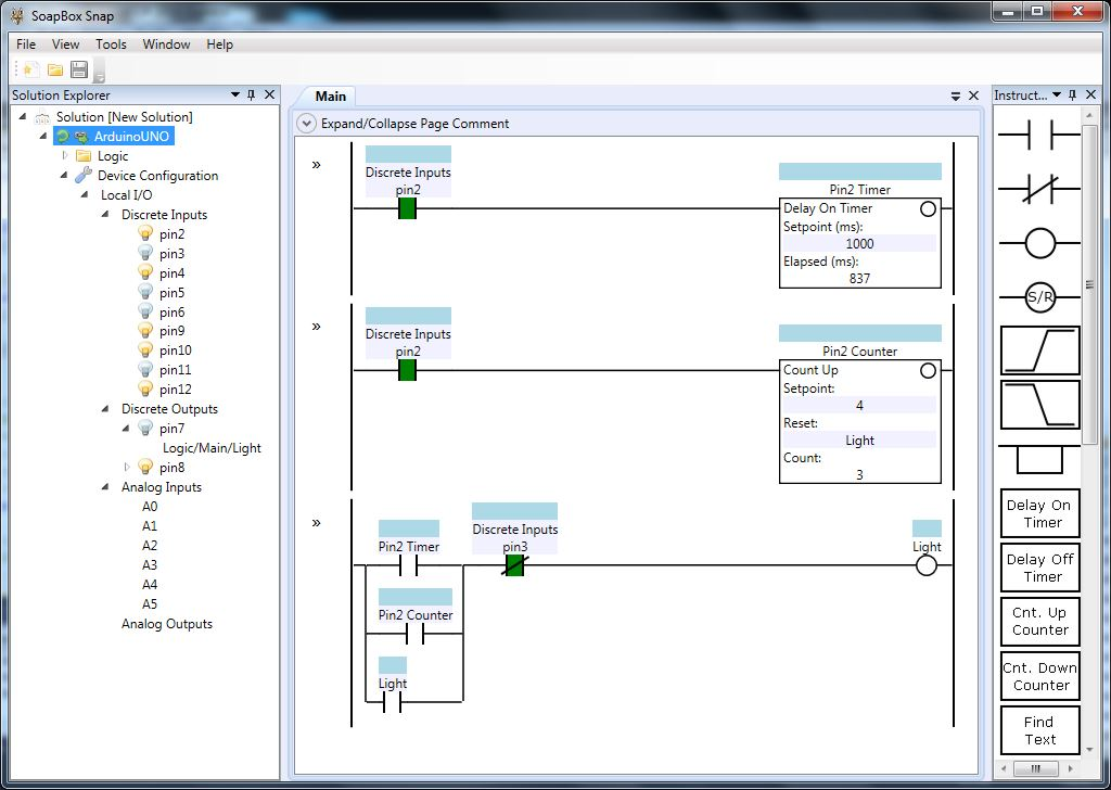 Ladder Logic running on an Arduino UNO · Contact and Coil