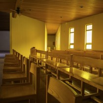 View of the choir, altar, and eucharistic chapel.