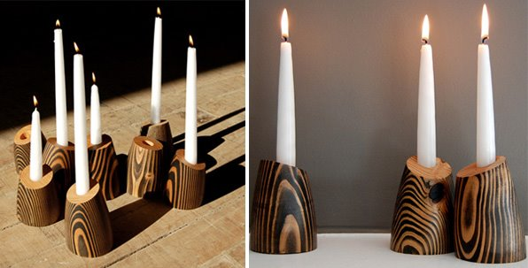 Wood Candle Holders By Jean Pelle Contemporist