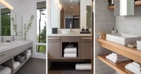 15 Examples Of Bathroom Vanities That Have Open Shelving ...