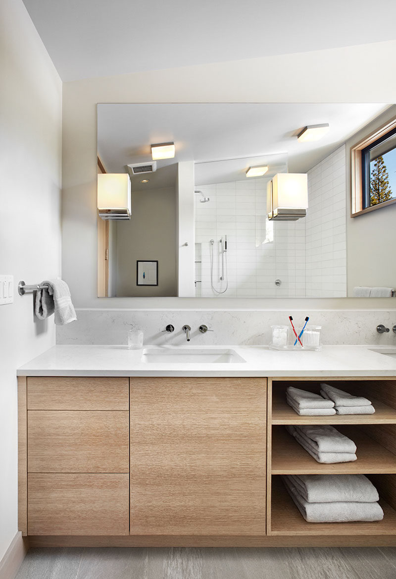 15 examples of bathroom vanities that have open shelving the combination of drawers