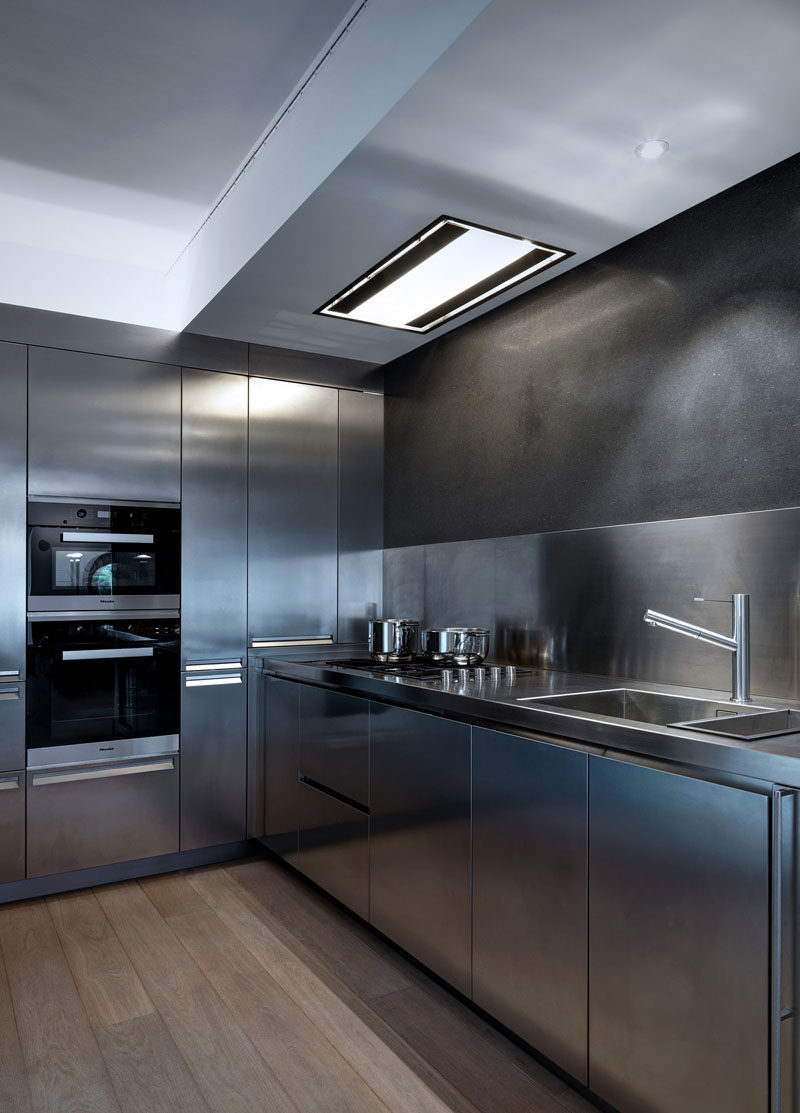 everything about this kitchen is stainless steel stainless steel kitchen countertops This stainless steel kitchen has appliances faucet sink walls counter tops
