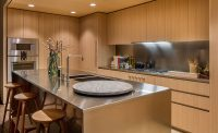Oak Cabinets And Satin-Finish Stainless Steel Make Up This ...