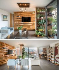 A Wavy Wood Accent Wall Creates Multiple Shelves In This ...