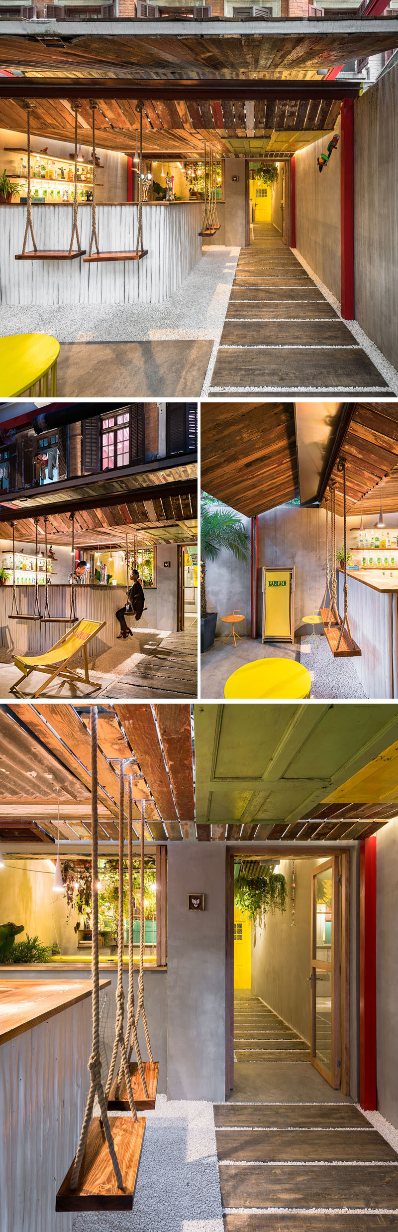 3d Wallpaper Made In China A Tropical Inspired Bar In China Uses Reclaimed Materials