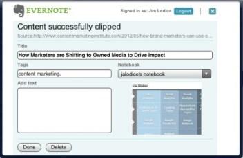 Evernote clips content, CMI