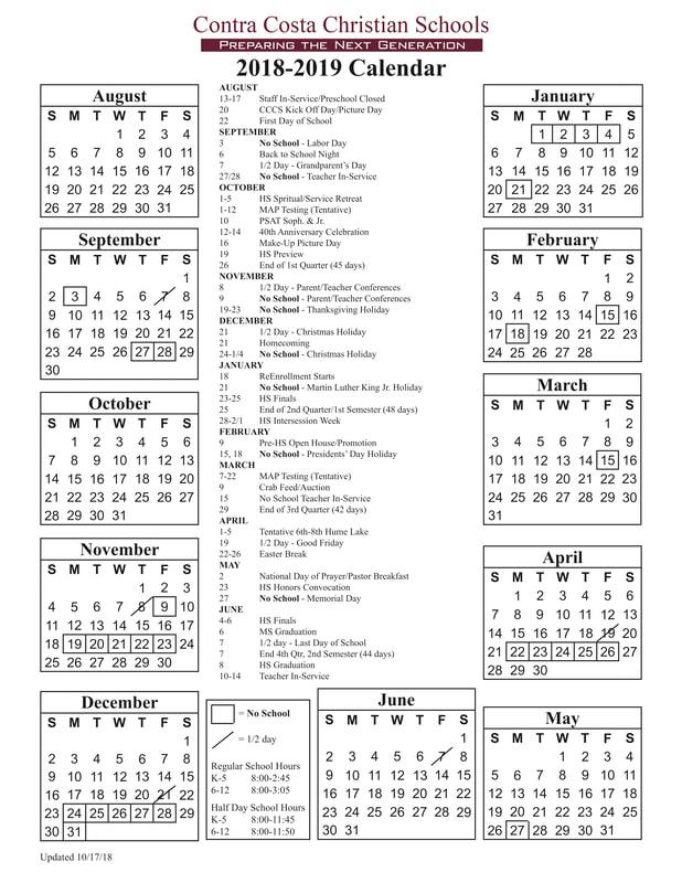 2018-2019 Calendar - CONTRA COSTA CHRISTIAN SCHOOLS