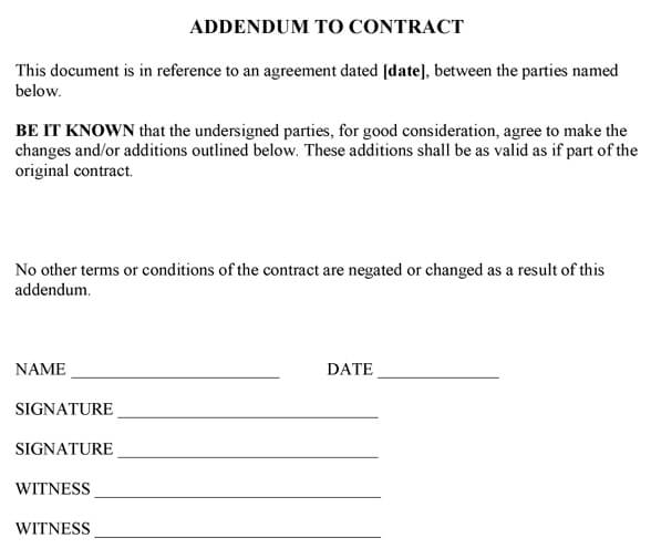 Addendum To Contract Sample - sample contract amendment template