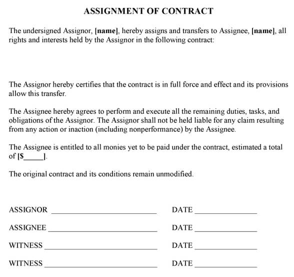 Assignment Of Contract Form - assignment of contract