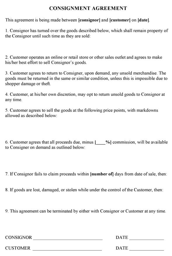 Sample Consignment Agreement Template