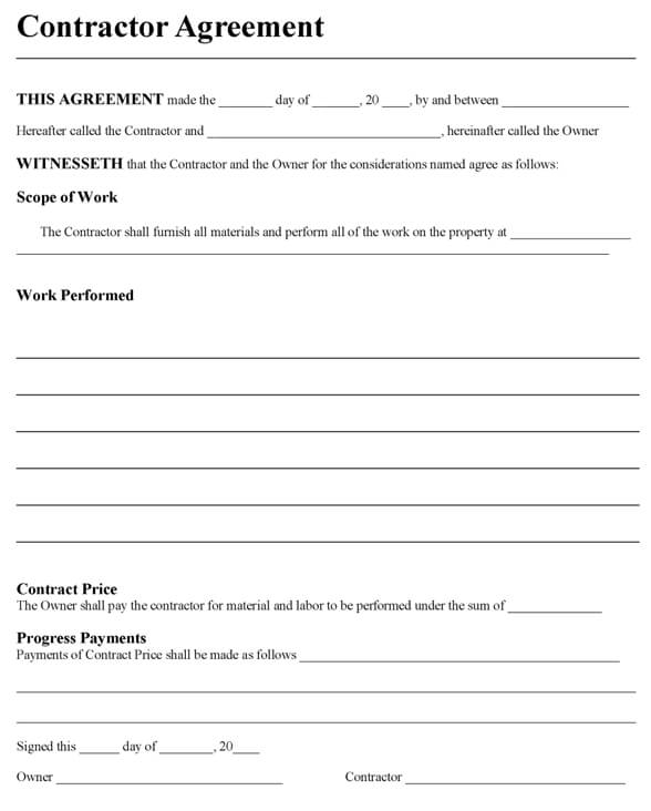 Contract Agreement Construction Contract Template Open Door