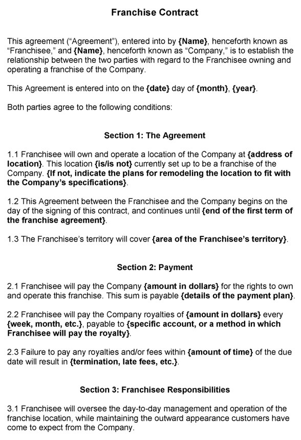 Franchise Agreement Template Free Word Documents Master Sample Pdf
