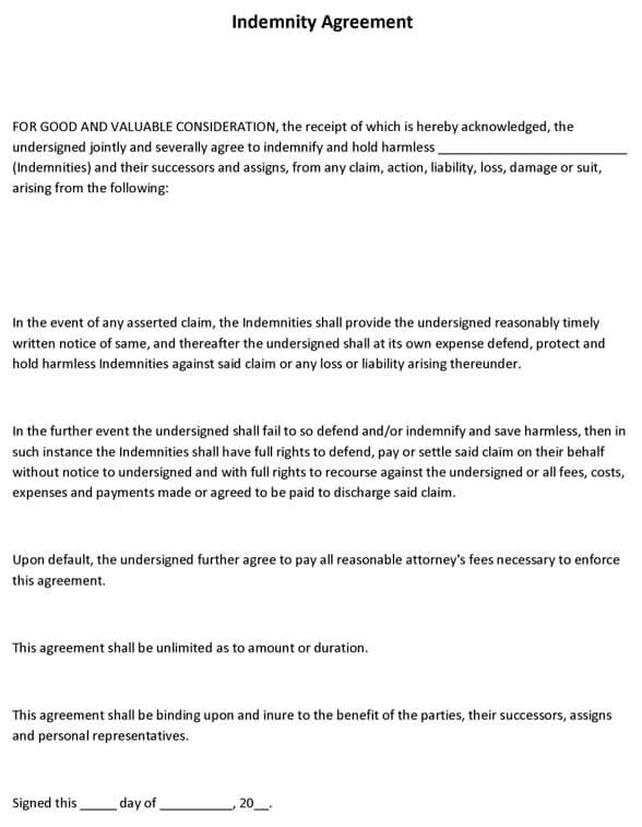 Indemnity Agreement Sample - indemnity agreement template
