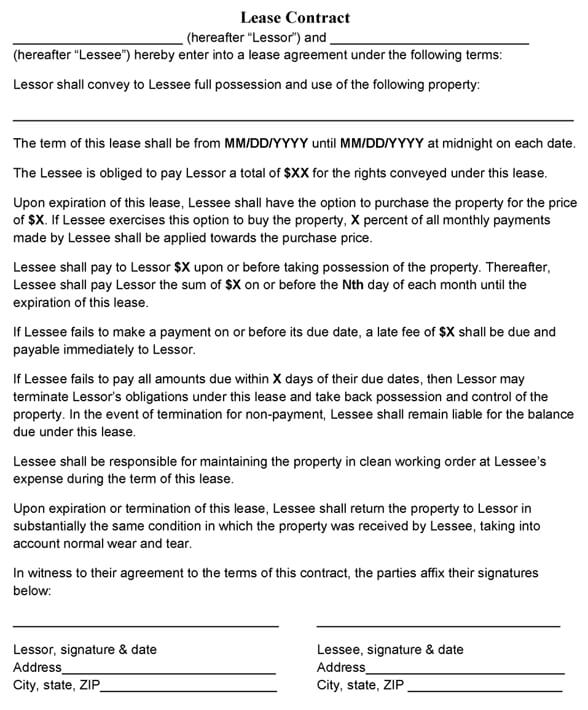 Sample Lease Contract Template