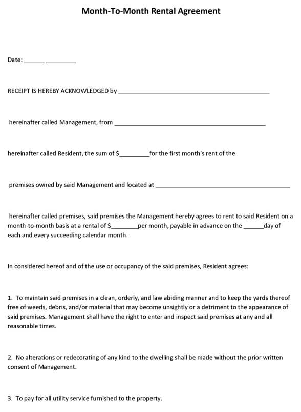 Rental Agreements Free Printable Rental Agreements Actor Resumed - month to month lease agreement example