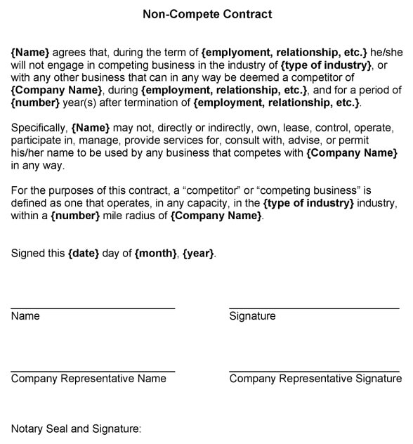 Standard Non-Compete Contract Template