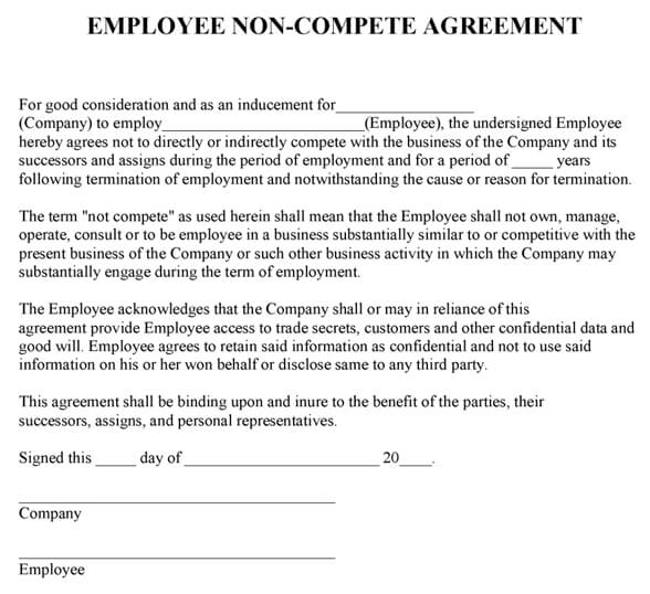 Employee Non-Compete Agreement Template - business non compete agreement