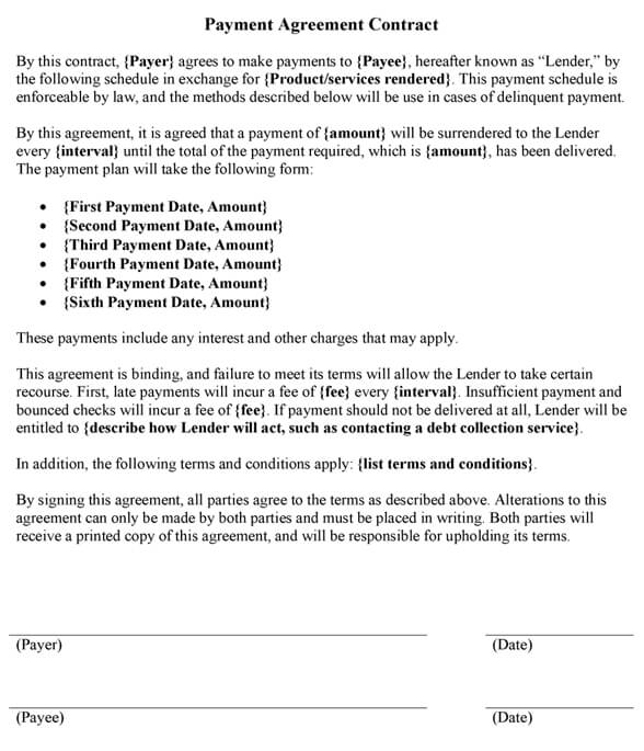Sample Payment Agreement Contract Template - sample payment agreement