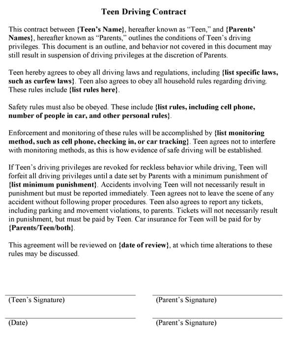 Teen_Driving_Contractjpg - safety contract templates