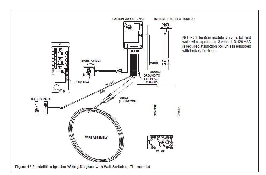 fireplace gas valve wiring