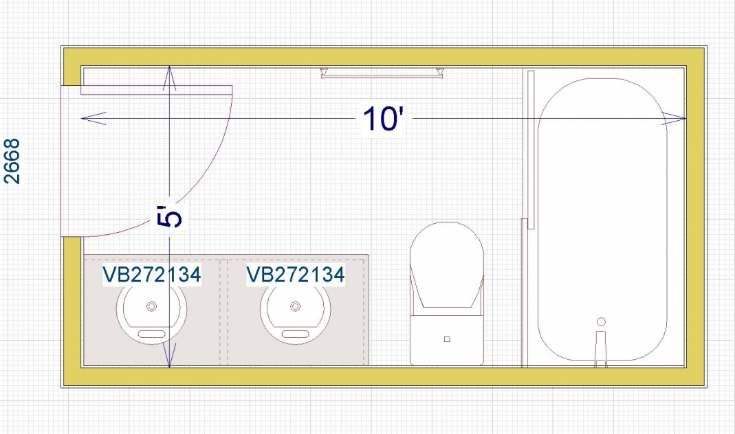 Full Bathroom Dimensions With A Bath (Or Large Shower) 8Ft X 5Ft