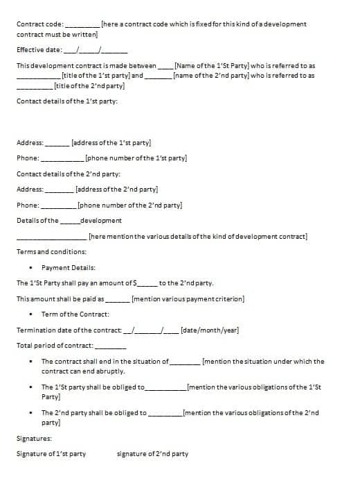 Development Contract Template Contract Agreements, Formats - development contract templates