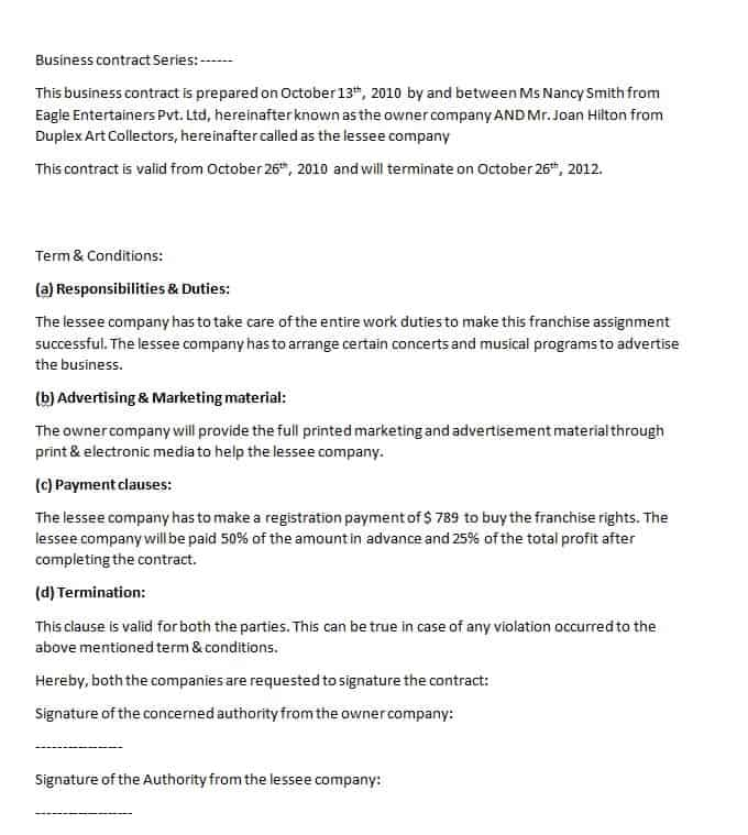 Business Contract Template Contract Agreements, Formats \ Examples - sample business agreements