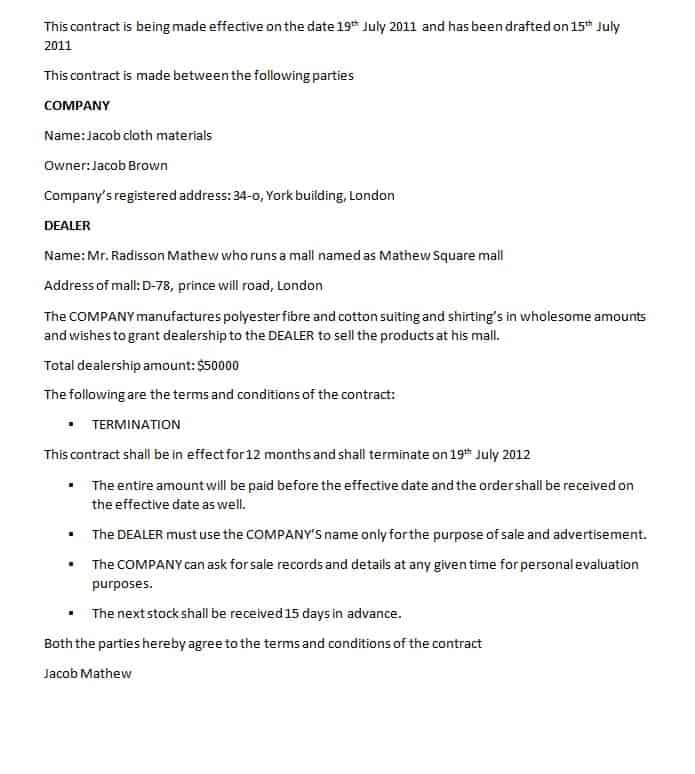 Sample Advertising Contract Template Dealership Contract Template