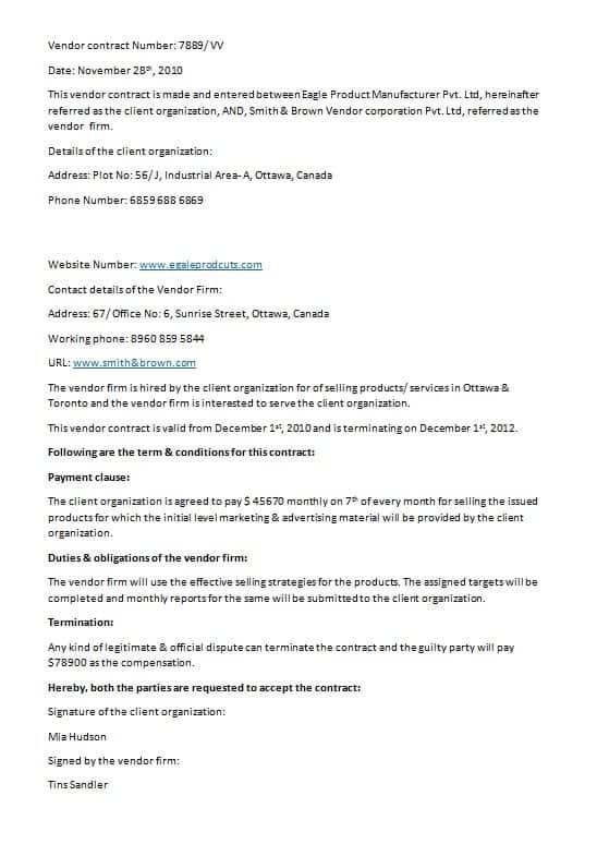sample vendor contract