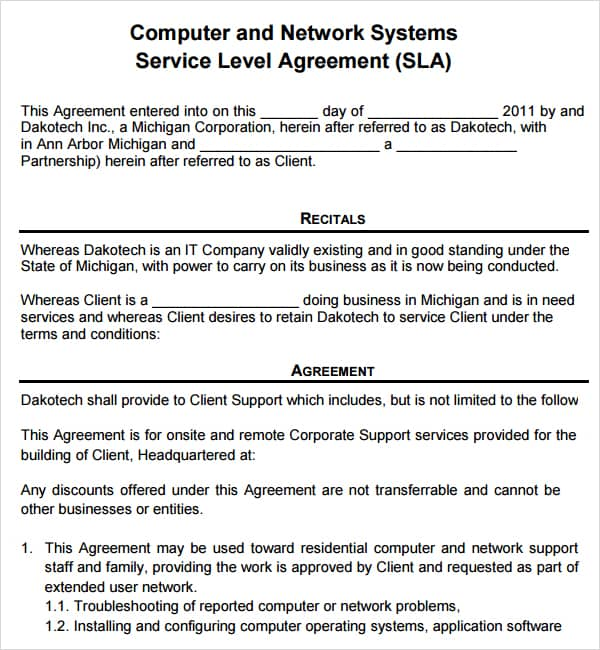 Computer Service Contract Contract Agreements, Formats \ Examples - it service agreement template