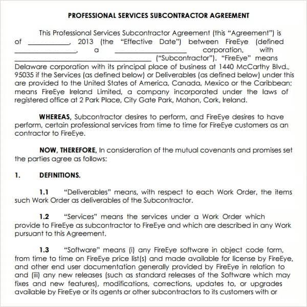 Subcontractor Agreement Template Contract Agreements, Formats - subcontractor agreement template
