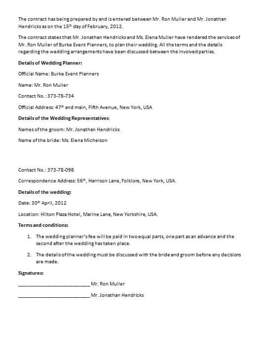 Wedding Contract Template -Marriage Contract Contract Agreements - wedding contract template