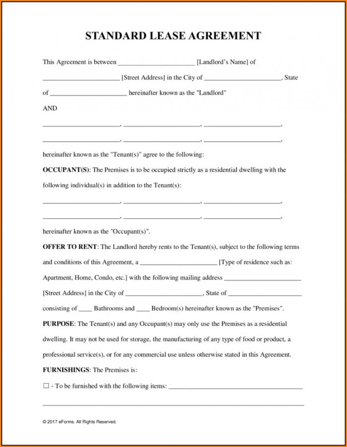 Blank Lease Form Free - Form  Resume Examples #A19XoAk24k