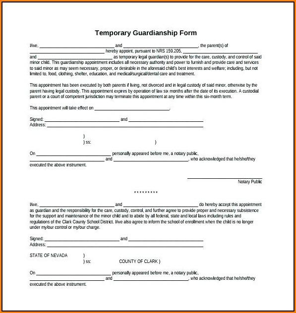 free printable temporary guardianship form - Pinarkubkireklamowe
