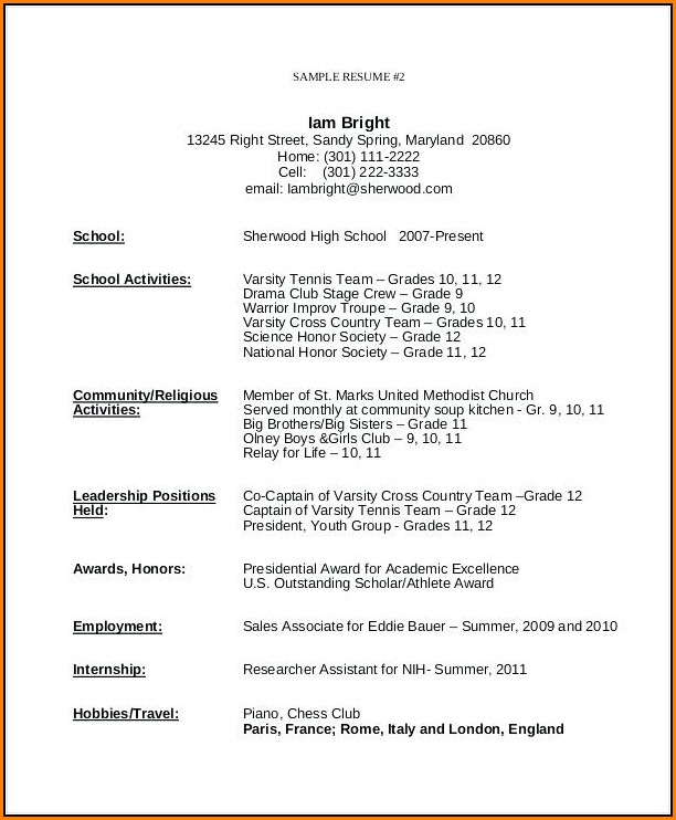 Resume Template For Teenager First Job - Resume  Resume Examples