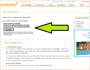 Shutterfly order confirmation page optimization