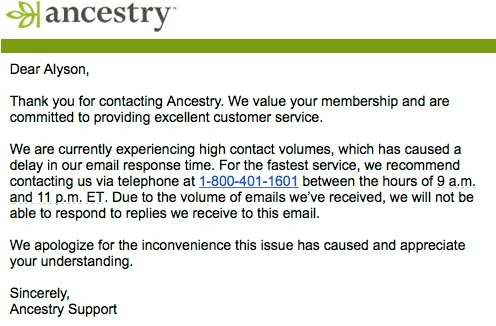 How To Be Confusing And Unhelpful in Customer Service - support ancestry com