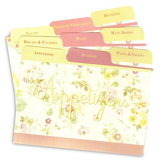 """Pretty """"Lemon Linen"""" design recipe card dividers"""