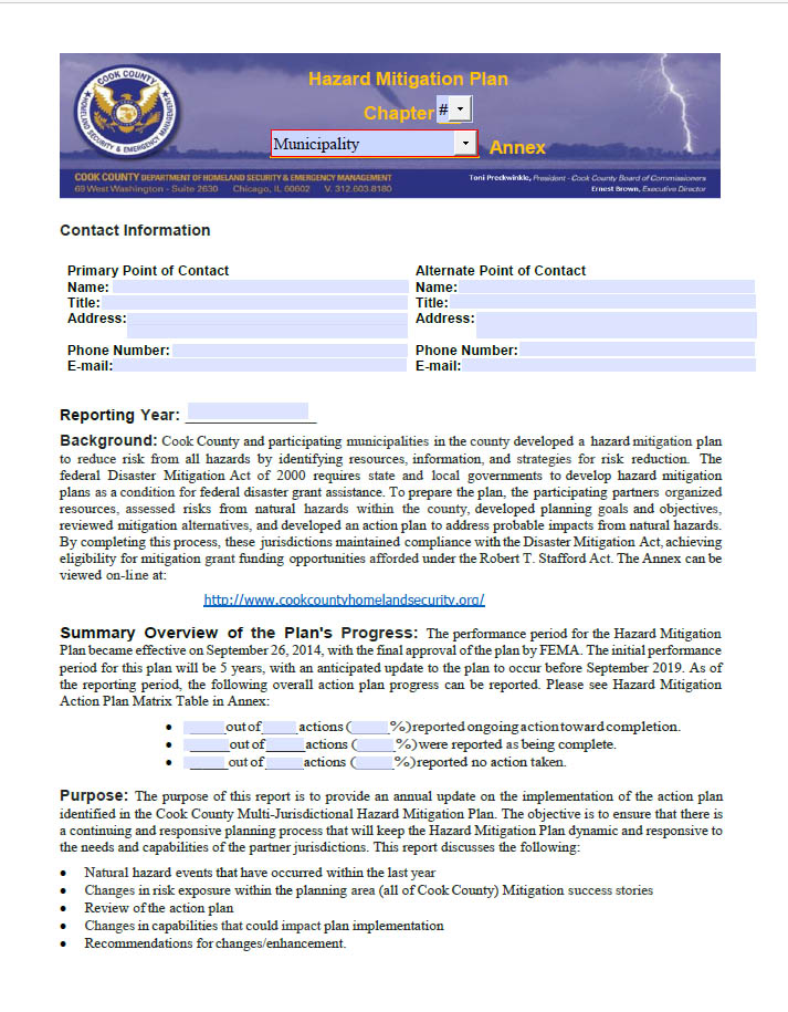 Annual Report Annex Template DHSEM - point of contact template