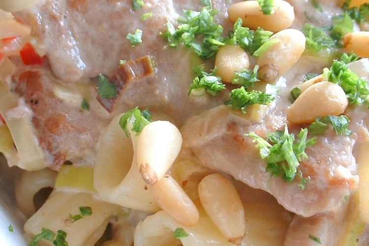 Cutting pork medallions - used in this pasta and pork recipe