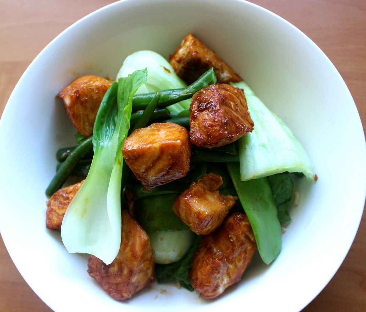 Caramel Salmon and Steamed Greens