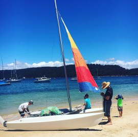 Our eldest 2 boys are learning to sail their Dad's old catamaran this summer.