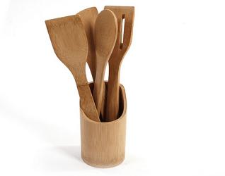 5 Piece Wooden Bamboo Utensil Set Baking Tools Cookie