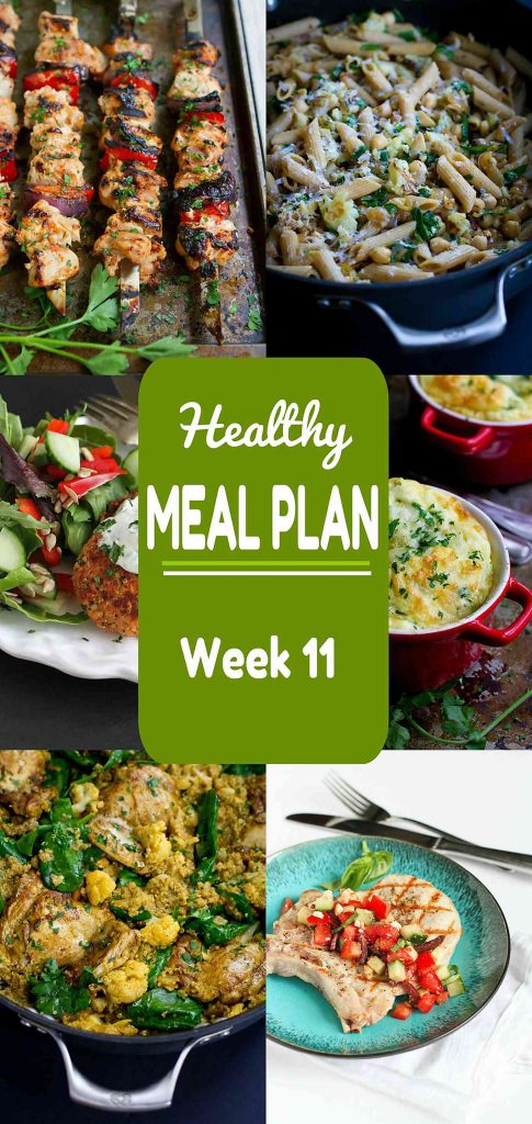 Healthy Meal Plan Week 11 - Meat and Meatless Recipes - weekly healthy meal plan